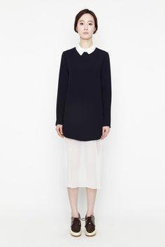 Long chiffon navy dress by bë · Grey Comma