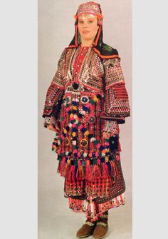Traditional bridal (but also: general festive) costume from the Biga province (south of Sea of Marmara).  Mid-20th century.  Ethnic group: Pomak, Muslim immigrants from Bulgaria who came at the end of 19th century.
