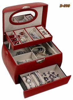 Všetko pre modernú domácnosť | homedesignsk.sk - Luxusná kožená šperkovnica červená