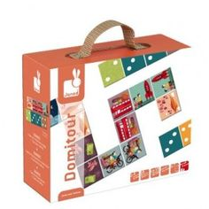 Janod - Domitour Dominoes Game: The Janod Domitour Dominoes game in suitcase style box, has traditional dominoes on one side, and striking illustrations on the other. The board game is made from heavy duty card and beautifully presented in a sturdy suitcase. Great for gift giving, rainy days or whilst travelling. #alltotstreasures #janod #domitourdominos #woodentoys #dominos #