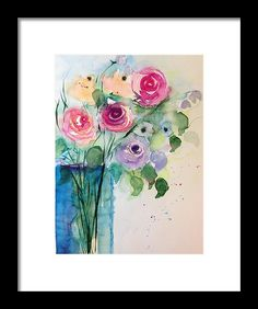 Colorful Rose Bouquet Framed Print by Britta Zehm. All framed prints are professionally printed, framed, assembled, and shipped within 3 - 4 business days and delivered ready-to-hang on your wall. Choose from multiple print sizes and hundreds of frame and mat options.