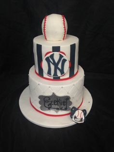 New york yankees baby shower baseball cake!  how cute is the pacifier!!! for inquires email: mixbakedecorate.com