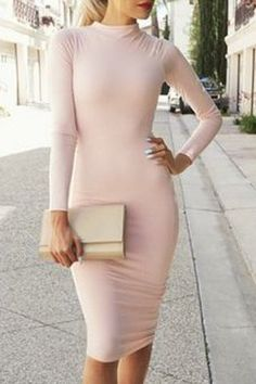 Long Sleeve Pure Color Women's Bodycon Dresses