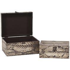 Howard Elliott Leaf Textured Wood Box Set