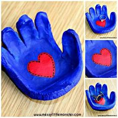 Simple instructions to make a hand shaped dish from salt dough for rings, cufflinks, coins or keys. A great kid made gift idea for mothers day, fathers day, valentines day or christmas. Kids Crafts, Baby Crafts, Toddler Crafts, Creative Crafts, Diy Niños Manualidades, Cadeau Parents, Salt Dough Crafts, Salt Dough Handprints, Salt Dough Projects
