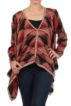 Multicolor printed long sleeve V-neck cardigan sweater with button down closure, low sides and solid contrast trim detail.
