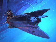 """Yamato 2520 Art by Syd Mead. Spaceship Design, Spaceship Concept, Concept Ships, Concept Art, Syd Mead, Sci Fi Spaceships, Sci Fi Ships, Star Trek Ships, Futuristic Art"