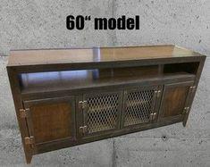 La moderna consola de medios industriales con componente nicho #003 L muebles de evolución Industrial incorpora un estilo minimalista y elegante diseño