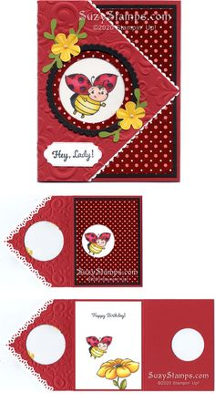 Stampin\' Up! Cards - Class - Little Ladybug and Thoughtful Blooms Sale-A-Bration stamp sets, Small Bloom, Sprig, Tarjetas Stampin Up, Stampin Up Karten, Fun Fold Cards, Folded Cards, Bee Cards, Stamping Up Cards, Creative Cards, Ads Creative, Creative Lettering