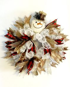 SNOWMAN WREATH with Twig Hat Deluxe Snowman by FancyWreathLady