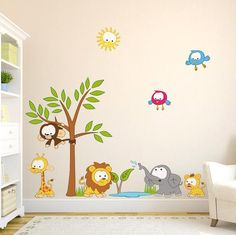 Baby Jungle Scene Wall Stickers