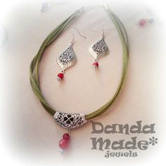 Irish style Necklace green faux suede, natural faceted carnelian gemstones, silver plated connectors https://www.facebook.com/dandamade