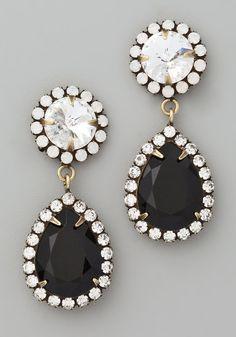 black white dangly earrings