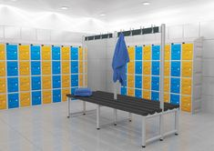 These are a few examples of what can be achived with a little bit of design Plastic lockers with Yellow Blue doors great for wet areas Bespoke Locker Supplies, Plastic Lockers, Project 22, Blue Doors, Steel Locker, Storage Design, Steel Doors, Outdoor Furniture, Outdoor Decor