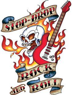 Rock n Roll skull and guitar tattoo art design by FloozeesDoozees
