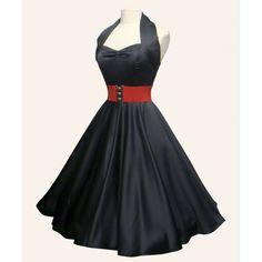 Image detail for -50s Halterneck Red Balck Purple Satin swing Dress from Vivien of ...