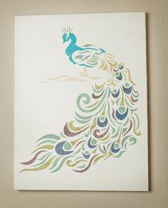 Peacock Canvas Wall Art. $65.00, via Etsy.