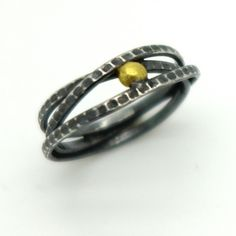 Wound Round Ring with 18ct Gold Spot by Jessica Briggs
