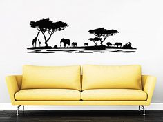 Safari Wall Decal Vinyl Stickers Decals Home Decor Animal Wall Vinyl Decal African Safari Nursery Decor Jungle Bedroom Safari Africa ZX123 ** You can find more details by visiting the image link.