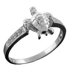 Sea Turtle Ring With Cz Inlay