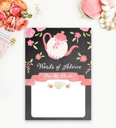 Bridal Shower Activity  Words of Advice for the Bride Chalkboard Pink Tea Party      Instant Download Printable