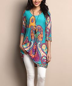 Love this Turquoise Paisley Empire-Waist Tunic Dress on #zulily! #zulilyfinds