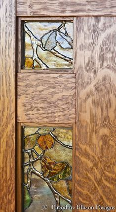 wood and glass detail of Dunsmuir Door by Theodore Ellison Designs and The Craftsman Door Company - tree Stained Glass Door, Stained Glass Designs, Stained Glass Patterns, Leaded Glass, Mosaic Glass, Glass Doors, Arts And Crafts Interiors, Arts And Crafts Furniture, Arts And Crafts House