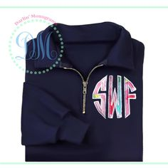 1/4 Zip Sweatshirt with Lilly Pulitzer Applique Monogram