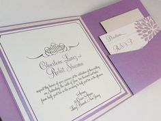 Lavender Wedding Invitation  PomPom by PinkOrchidInvites on Etsy, $8.10