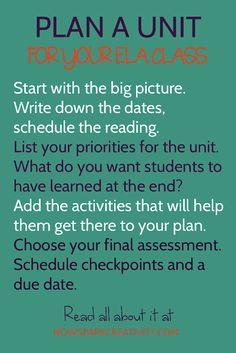 Curriculum mapping - How to Plan a Unit for ELA – Curriculum mapping Curriculum Mapping, Creative Curriculum, Creative Activities, English Class, English Teachers, 9th Grade English, Ap English, Teaching American Literature, Teaching Strategies