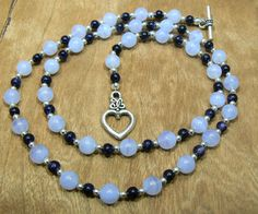 Blue lace agate blue gold stone and silver by 3cedarsjewelry, $41.00