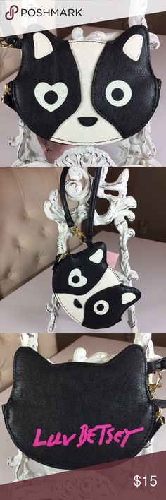"New☃️Betsey Roxy Dog coin Purse Wristlet Adorable Ricky Dog coin purse wristlet that measures 6""W x 5"" H. Inside has 2 credit card holders. NWT No Offers. Betsey Johnson Bags"