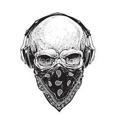Skull with Headphones on VectorStock