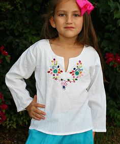 Look at this #zulilyfind! Little Cotton Dress White & Teal Sara Embroidered Top - Infant, Toddler & Girls by Little Cotton Dress #zulilyfinds