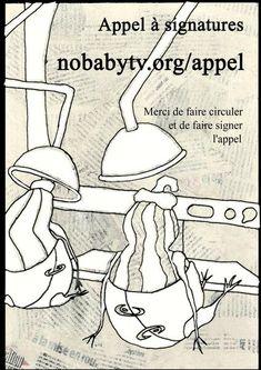 Affiche publicitaire pour un appel à signatures contre les bébés téléphages Peanuts Comics, Graphic Design