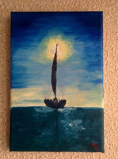 """""""Ship me. Evening"""" Oil on canvas"""