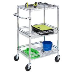 Three-tier steel wire storage cart with adjustable shelves.   Product: Rolling cartConstruction Material: Steel
