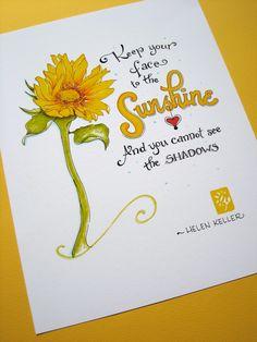 Sunshine Sunflower Inspirational Art Happiness by PattieJansen. $15.00 USD, via Etsy.