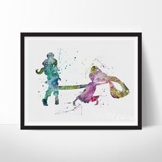 Tangled Rapunzel Watercolor Art - VIVIDEDITIONS