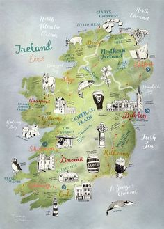Ireland Map, Map of Ireland by Theresa Grieben, illustrated map art print of Ireland, art poster, road trip map Irland Landkarte. This is a high quality print of my hand drawn map of Ireland (and Northern Ireland). I illustrated the towns as well as the s Ireland Vacation, Ireland Travel, Backpacking Ireland, Galway Ireland, Travel To Scotland, Traveling To Ireland, Ireland Hiking, Scotland Map, Scotland Road Trip