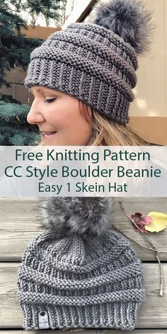 Free Knitting Pattern for Easy CC Style Boulder Beanie Hat in One Skein - Easy h . Free Knitting Pattern for Easy CC Style Boulder Beanie Hat in One Skein - Easy hat for the popular CC beanie. Rated easy by Ravelrers. Knit Hat Pattern Easy, Knit Patterns, Free Pattern, All Free Knitting, Beanie Knitting Patterns Free, Easy Knit Hat, Kids Knitting, Cc Beanie, Knit Beanie
