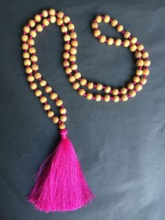 Available online: Our handmade BALI SILK TASSEL NECKLACE (Colour: Warm Pink)