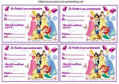 invitations Princesses pour anniversaire http://nounoudunord.centerblog.net/4259-etiquettes-invitations-princesses-pour-anniversaire