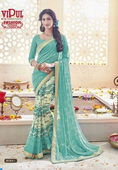 Shop Now #VipulFashion Fusion Blossom Indian Ethnic Wear Printed Designer Sarees Catalog online at textiledeal.in