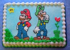 Mario and Luigi Bolo Do Mario, Super Mario Cake, Super Mario And Luigi, Super Mario Birthday, Mario Birthday Party, Super Mario Party, 4th Birthday Parties, 5th Birthday Cake, Twin Birthday