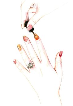 Nails ! - Illustration for Cincinnatti Magazine, beauty section by Caroline Andrieu