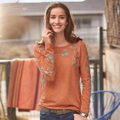 Flourish embroidered top. Lush, delicate, floral embroidery creates a captivating pattern on a long-sleeve, cotton slub top. (US $88)