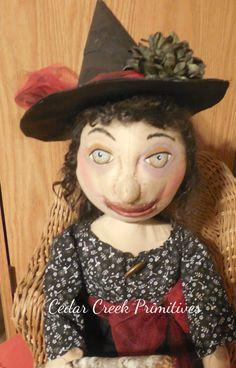 Primitive folk art Witch by CedarCreekPrimitives on Etsy