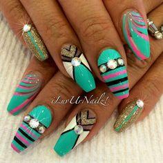 Bright Art Deco nails