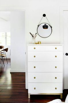 Our dresser make it gloss brown than use gold knobs